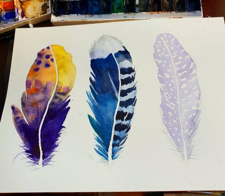 Feathers trio - MalinRobertsArt