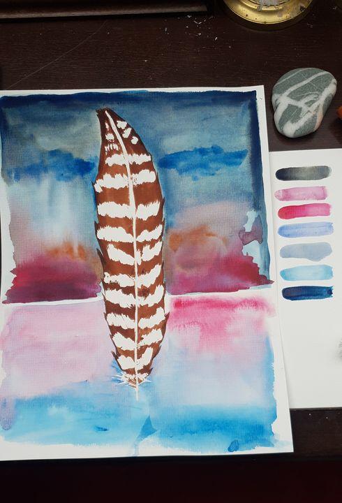 Feathers stripy - MalinRobertsArt