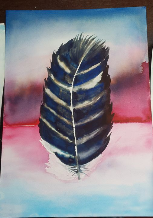 Feather blue stripy - MalinRobertsArt