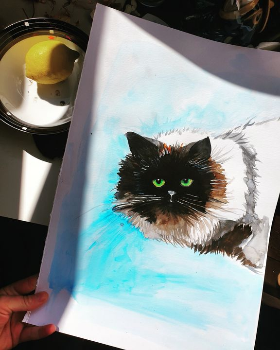 Green eyed cat - MalinRobertsArt