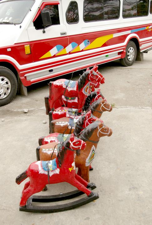 Red Toy Horses and a Jeep - mijodo asian gallery