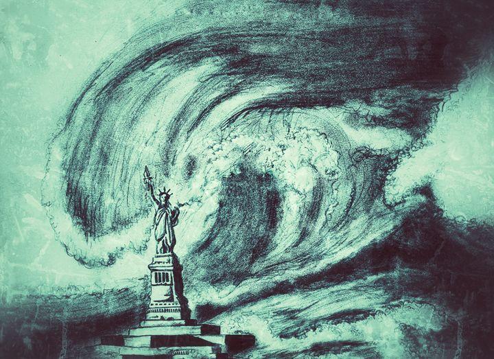 Statue of Liberty facing tsunami - Amanda's Imaginarium