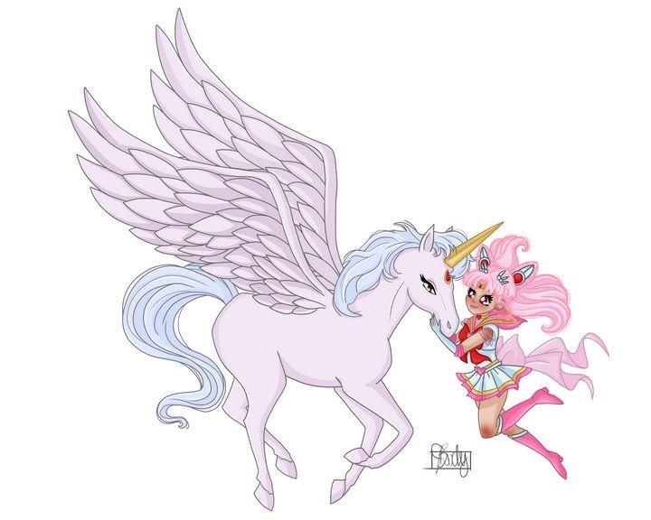 Sailor MiniMoon + Pegasus - White BG - Art of Jessica Bixby