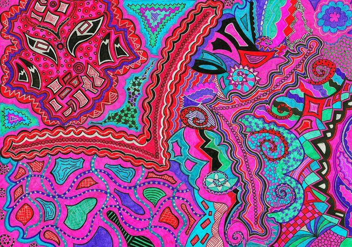 Pink Abstract Drawing - Elena's Art
