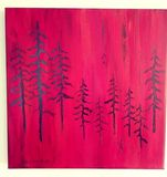scraffito pine trees. black on red