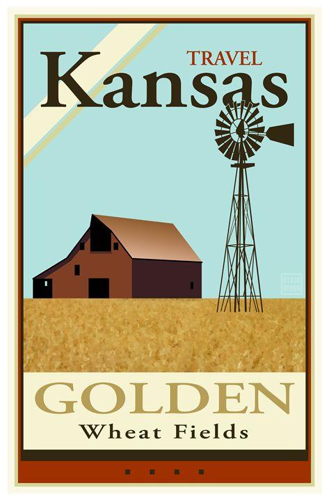 Travel Kansas - Vintage Travel by Kevin Brown Studio
