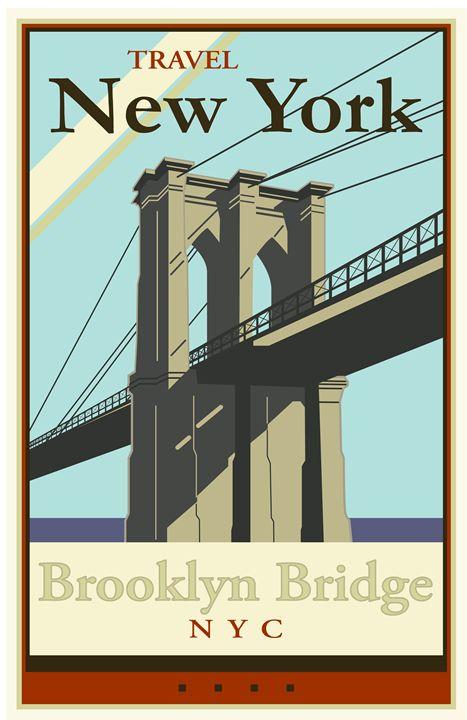 Travel New York - Vintage Travel by Kevin Brown Studio