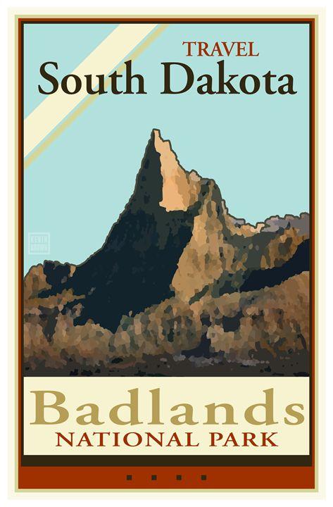Travel South Dakota - Vintage Travel by Kevin Brown Studio