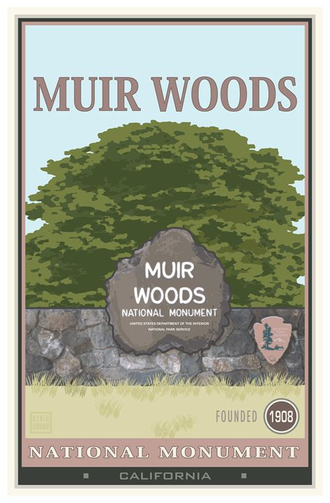 Muir Woods National Monument II - Vintage Travel by Kevin Brown Studio