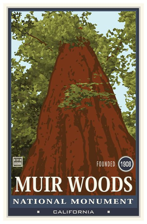 Muir Woods National Monument I - Vintage Travel by Kevin Brown Studio