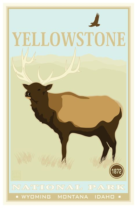 Yellowstone National Park II - Vintage Travel by Kevin Brown Studio