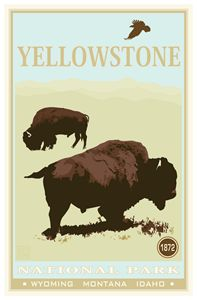 Yellowstone National Park I - Vintage Travel by Kevin Brown Studio