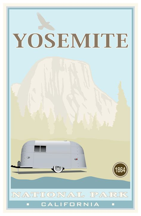 Yosemite National Park - Vintage Travel by Kevin Brown Studio