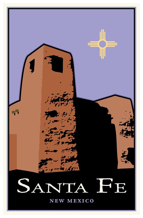 Santa Fe, New Mexico - Vintage Travel by Kevin Brown Studio