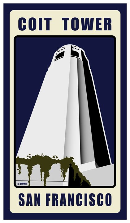 Coit Tower, San Francisco - Vintage Travel by Kevin Brown Studio