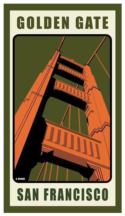 Golden Gate Bridge, San Francisco - Vintage Travel by Kevin Brown Studio