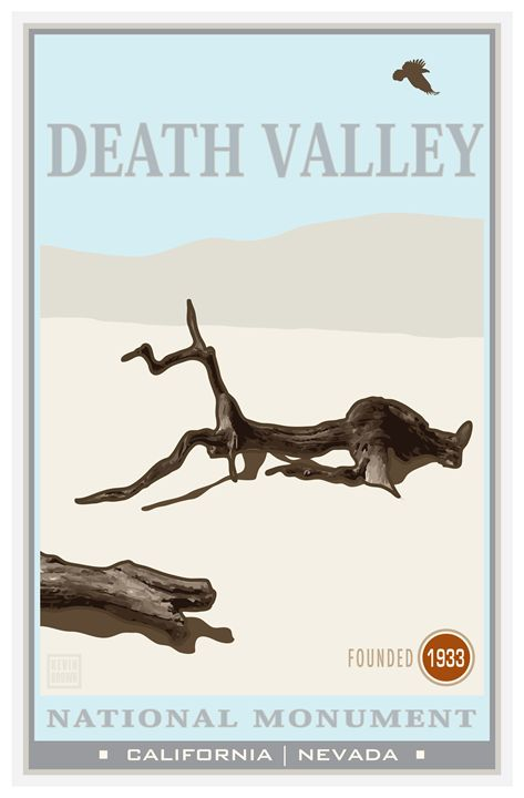 Death Valley National Monument I - Vintage Travel by Kevin Brown Studio