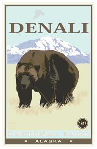 Denali National Park - Vintage Travel by Kevin Brown Studio