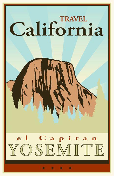 Travel California II - Vintage Travel by Kevin Brown Studio