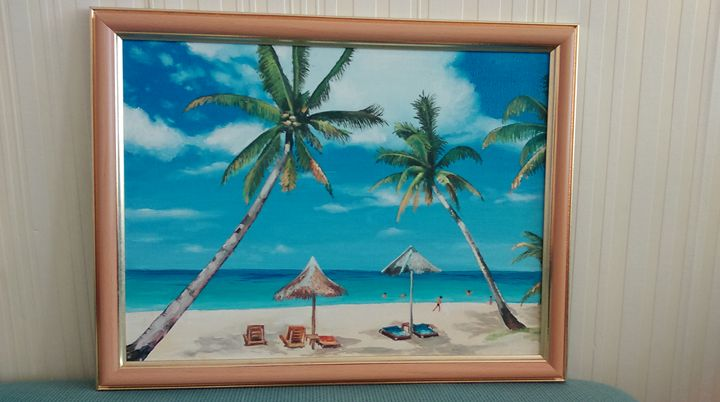 Exotic beach - Oil painting - Valentin_Georgiev
