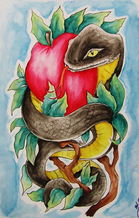 Snake and Apple - Paintings by Cable Angel