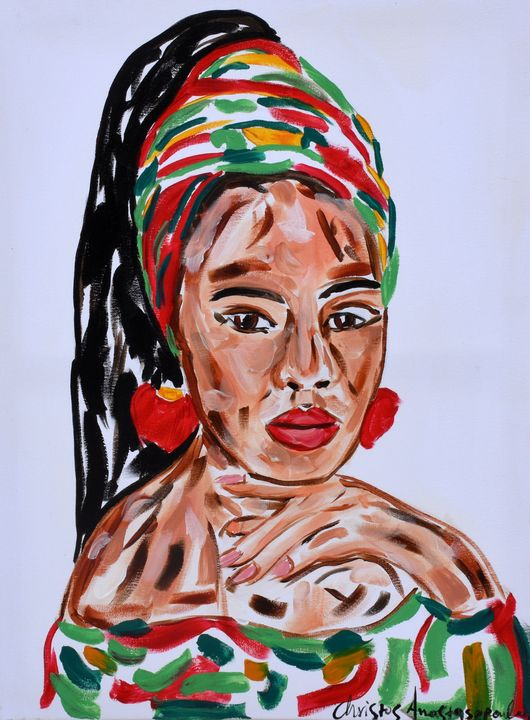 Woman from Africa poses - Christos Anastasopoulos