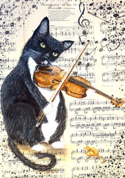 The cat playing violin - Evelyne Joy of Art
