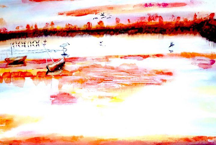 Golden sunset on the estuary - Evelyne Joy of Art