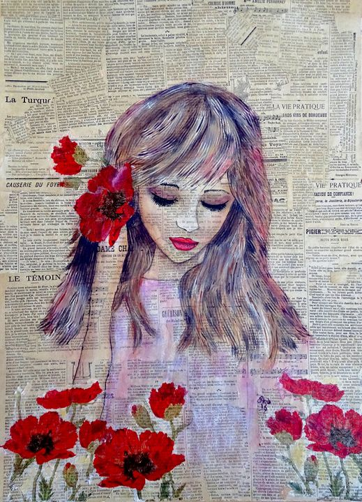 Young girl with poppy - Evelyne Joy of Art