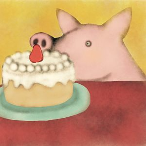 Pig and cake
