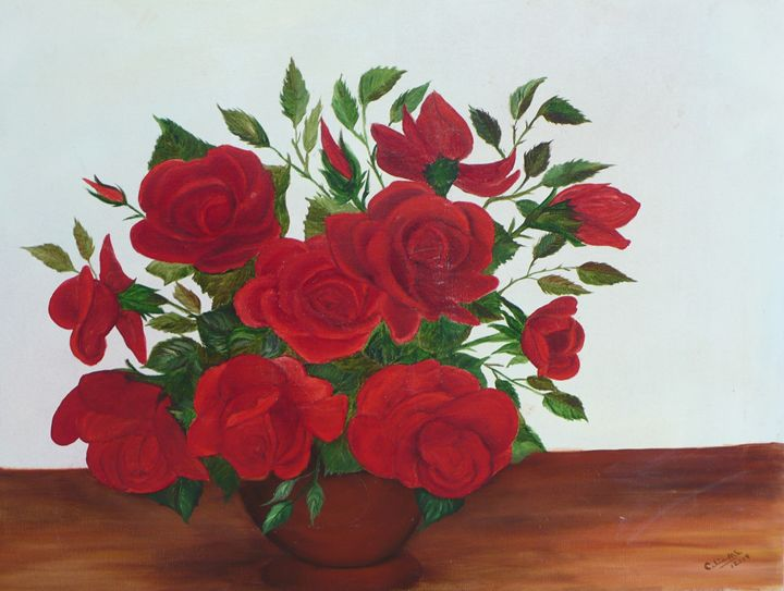 Roses on the Table by Celia Mc - Amroth Art