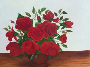 Roses on the Table by Celia Mc