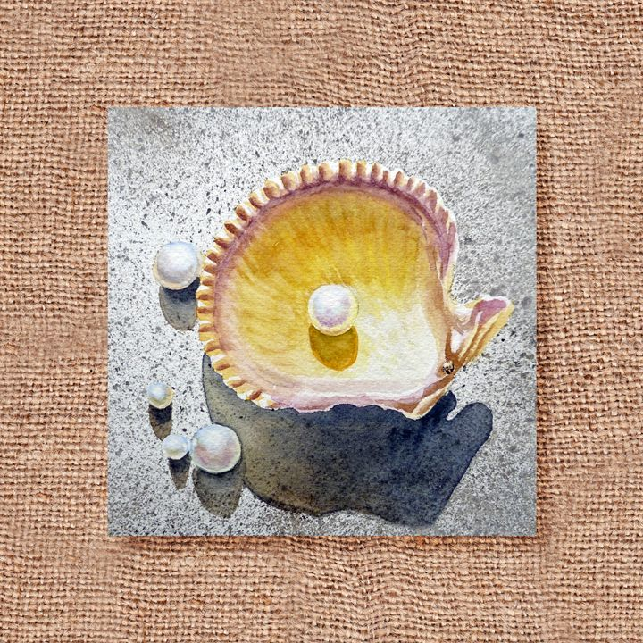 Seashell And Pearl Art Collage III - Artszarts
