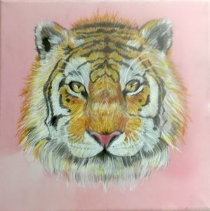 10''×10'' TIGER Acrylic Painting
