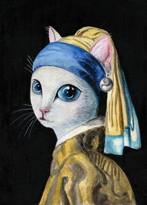 Cat with a Pearl Earring - Electric Fairy