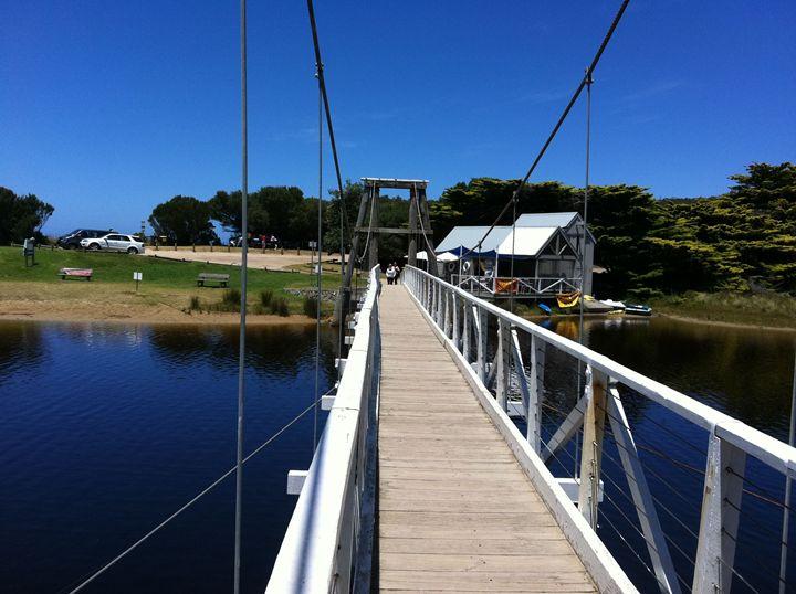 """Swing Bridge at Lorne Australia' - artforsalercbenson.com"