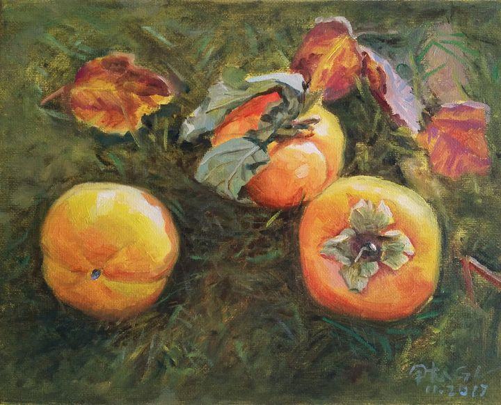 Ripe persimmons - GXL's paintings