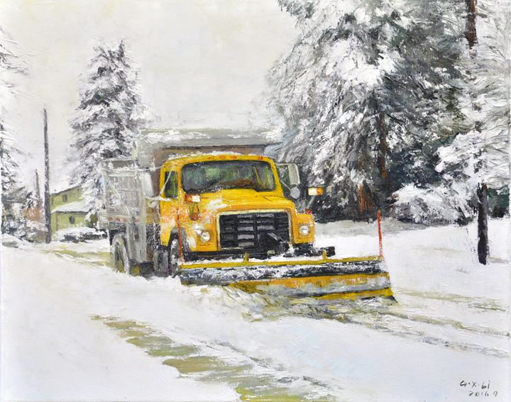 shoveling snow - GXL's paintings