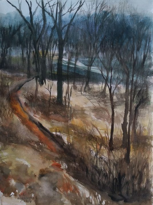 Late autumn (watercolor) - GXL's paintings