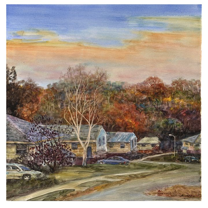 Sunset of a small town - GXL's paintings