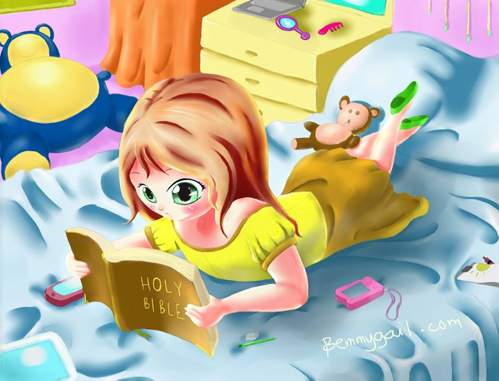 Girl Reading the Bible - Bemmygail