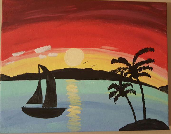 Sailing the sea - Calming canvas art work