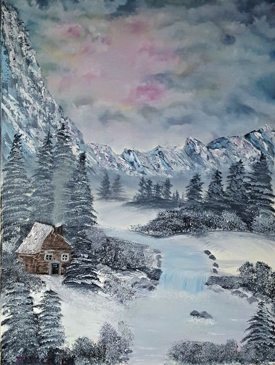 Cabin in the Snowy Mountains - Star's Art