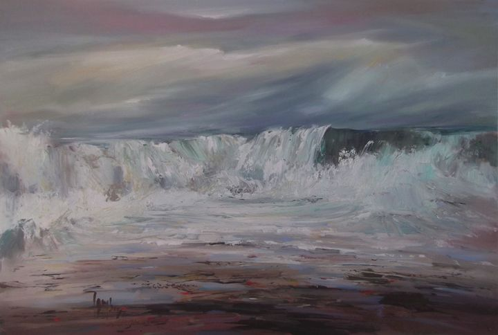 Argyll breakers and shore - Tom Barron Artist