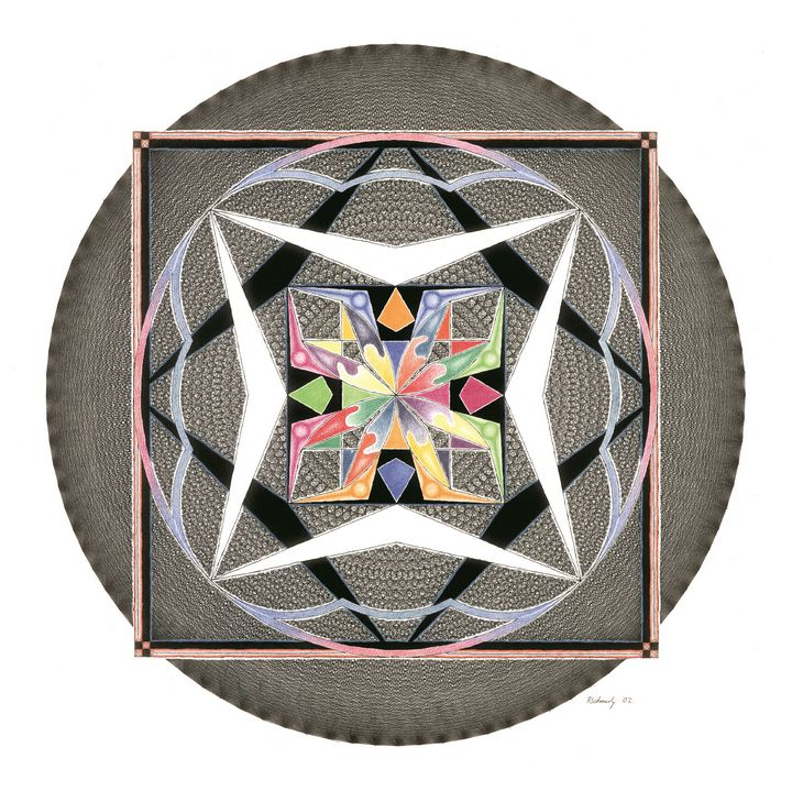 ink, colored pencils, Mandala - R Schmutz