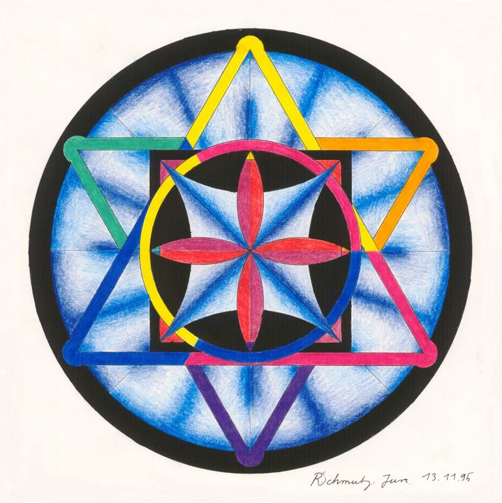 ink, colored pencils, Mandala - R Schmutz