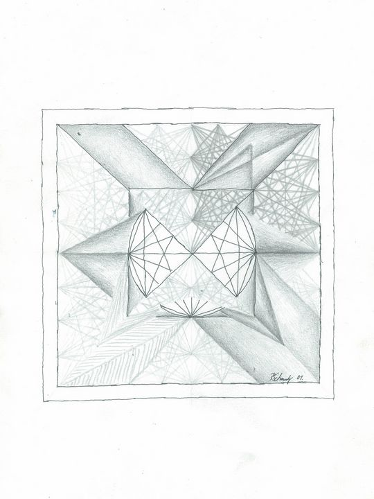 ink, lead pencil, Mandala - R Schmutz
