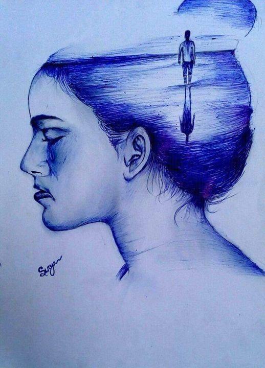 Thinking someone deeply. - Surya art