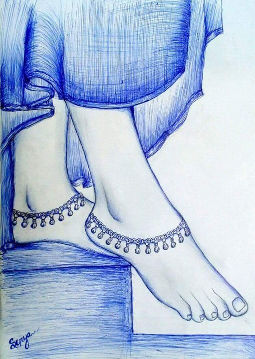 Beautiful Indian girl Foot - Surya art