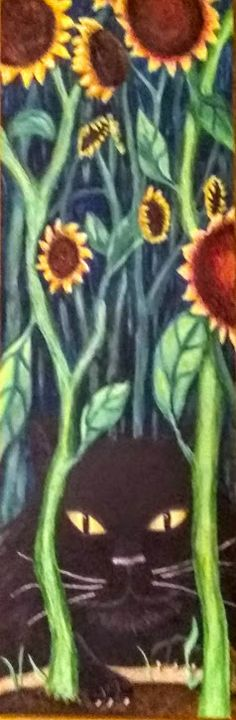 A Cat in the Sunflowers - Fresh Canvas by Brenda Hance